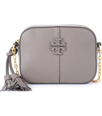 tory burch camera bag mcgraw shoulder bag in dove gray leather