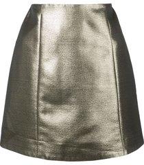 alexa chung metallic mini skirt - gold