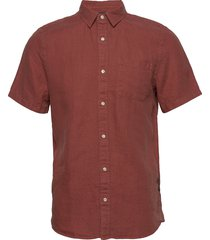 regular fit- shortsleeve garment -dyed linen shirt overhemd met korte mouwen rood scotch & soda