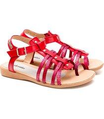 sandalia  de cuero roja valentia calzados vilna