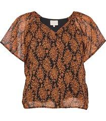 leyla blouse blouses short-sleeved bruin minus