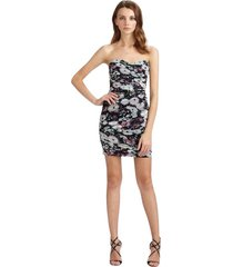 winnie strapless ruched lavender floral print dress