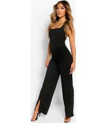 petite wide leg jumpsuit met vierkante hals en split, zwart
