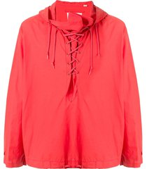 helmut lang pre-owned 2000's military hoodie - red