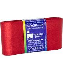 fita de cetim nº12 50mm peça com 10m vermelho