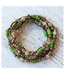 beaded wrap bracelet, 'forest party' (thailand)