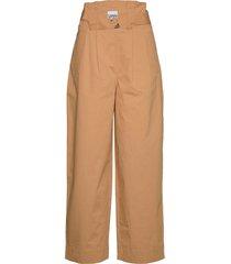 ripstop cotton chino wijde broek beige ganni