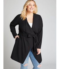 lane bryant women's belted tailored stretch flyaway jacket 18/20 black