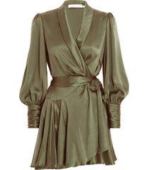 silk wrap mini dress in khaki