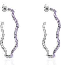 orecchini a cerchio in metallo rodiato e cristalli per donna