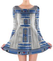 little blue droid longsleeve skater dress