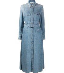 chloé flared denim shirt dress - blue