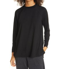 women's eileen fisher raglan sleeve stretch jersey tunic, size xx-small - black