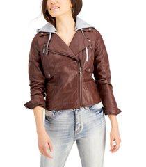jou jou juniors' hoodie faux-leather moto jacket