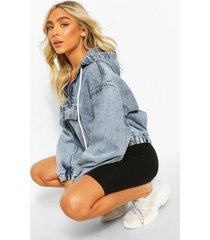 acid wash half zip crop denim pullover jacket, light blue