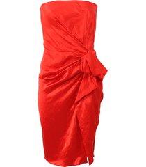 strapless side zip dress