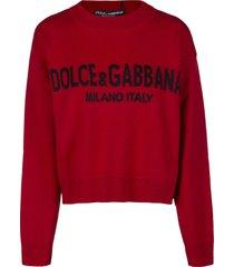 dolce & gabbana red virgin wool jumper