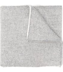 brunello cucinelli ribbed knit scarf - grey