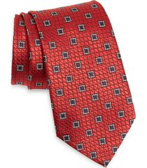 men's ermenegildo zegna medallion silk tie, size one size - red