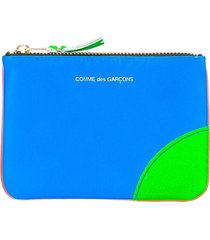 comme des garçons wallet colour block zipper purse - blue