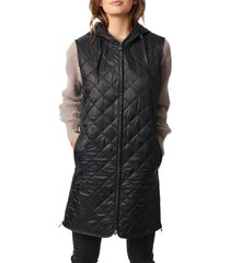 bernardo recycled polyester quilted long vest with hood, size small in black at nordstrom