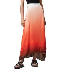women's allsaints vinia ombre high/low maxi skirt, size 8 us - orange