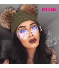 lot sale oversized vintage rimless retro classic clear lens sunglasses gold