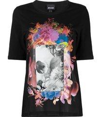 just cavalli patch-work print t-shirt - black