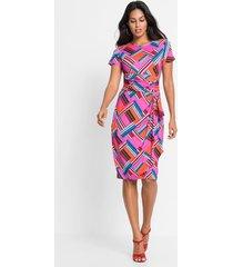 jurk met print, korte mouw