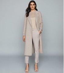 reiss lily - herringbone overcoat in oatmeal, womens, size 10