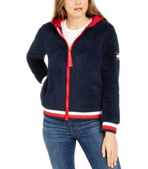 tommy hilfiger faux-sherpa hoodie