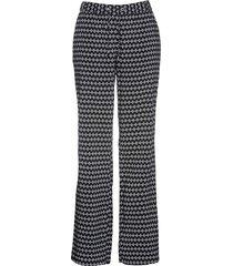 pantalone in viscosa fantasia con elastico (nero) - bpc selection