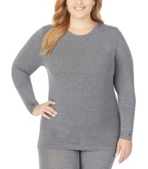 cuddl duds plus size softwear long-sleeve crewneck top