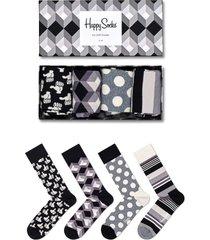 men's happy socks 4-pack black & white socks gift box