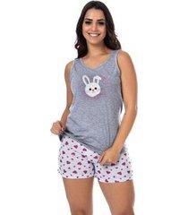 pijama victory para o verão bordado feminino - feminino