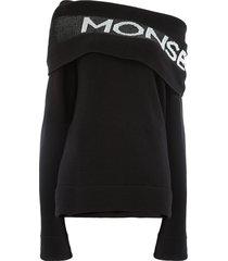 monse off the shoulder logo sweater - black