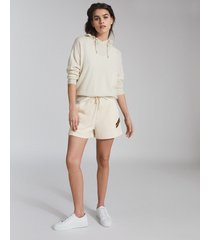 reiss phoebe - side stripe loungewear shorts in ivory, womens, size l