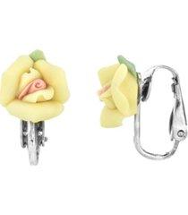 2028 silver tone porcelain rose clip earrings