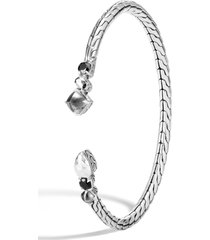 john hardy chain classic hammered flex stone bracelet, size small in silver/hematite at nordstrom