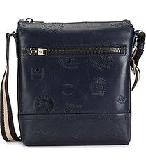 trezzini embossed leather crossbody bag