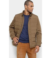 jaqueta jab nylon detalhes em camurça masculina