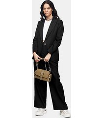 black wide leg herringbone pants with linen - black