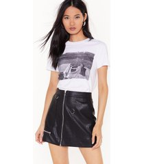 womens high-waisted faux leather zip up skirt - black