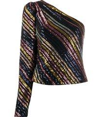 self-portrait sequin striped one shoulder blouse - black