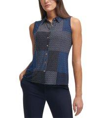 tommy hilfiger patchwork-print shirt