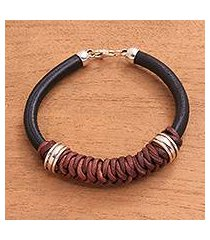 leather and sterling silver braided pendant bracelet, 'braided queen' (indonesia)
