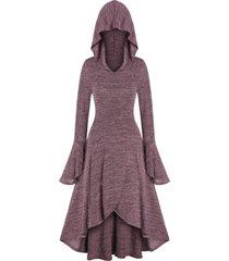 marled flare sleeve hooded dress