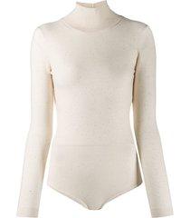 area backless knit bodysuit - neutrals