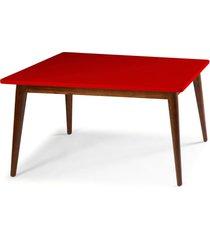 mesa de madeira retangular 140x90 cm novita 609 cacau/vermelho - maxima