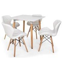 kit mesa jantar eiffel 80x80 branca + 04 cadeiras slim - branca